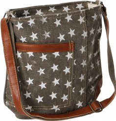 A stylish star print covered side bag featuring an adjustable faux leather handle and added distressed finish
