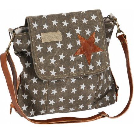 Grey Satchel Bag With Star Print