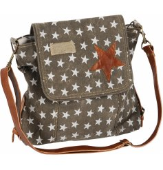 Bring a stylishly distressed trend to your outfit this upcoming season with this star printed satchel bag