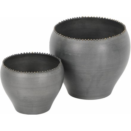 Set of 2 Smoke Grey Metal Planters