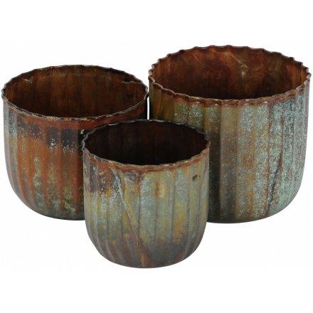 Galvanised Metal Planters, Set of 3