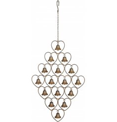 A stylish and unique hanging heart wind chime with bells. A unique decoration for the home and garden.
