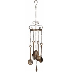 A beautifully Vintage inspired hanging wind chime with a kitchen utensil theme, a perfect accessory for any kitchen wind