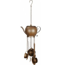 A beautifully Vintage inspired hanging wind chime with a teapot and cup theme, a perfect accessory for any kitchen wind
