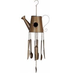 This teapot and cutlery design wind chime and birdhouse makes for a unique gift item