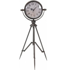 Create a focal point in the home with this rustic living clock on tripod.
