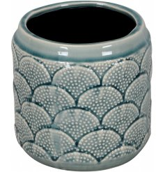 A chic blue patterned vase with a rich lustre glaze.