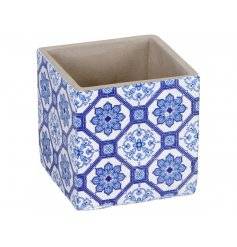 An attractive square planter with a vintage tile design pattern. A colourful and unique gift item.