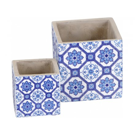 Blue Tile Planters, Set 2