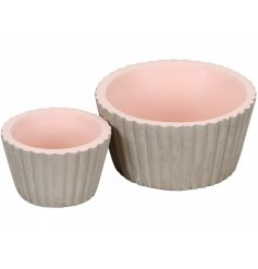 A set of 2 cupcake style concrete planters with a soft pink centre.