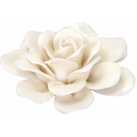 White Ceramic Rose, 9.5cm
