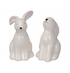 A mix of 2 bunny ornaments in sweet poses. An adorable trinket to be treasured and enjoyed.