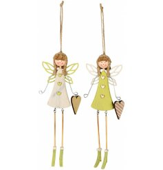 An assortment of 2 fairies with hearts. Each is painted with a shabby chic finish in fresh green and cream colours.