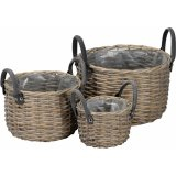 A set of 3 country living woven baskets with grey handles. Each basket has a plastic lining