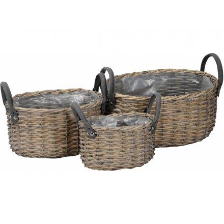 Woven Oval Baskets, Set 3