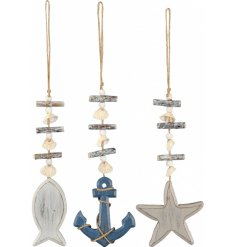 Bring a Coastal Charm to any home interior or garden space with this chic assortment of wooden hanging decorations