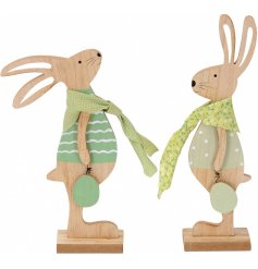 Bring a hint of green to your Easter displays and set up with this charming assortment of standing wooden bunny decorati