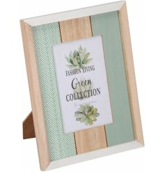 Bring a charmingly on-trend touch to your home decor with this natural wooden and green toned picture frame