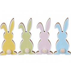A sweet assortment of colourfully toned wooden bunny decorations, each set with its own pompom tail