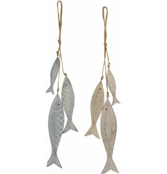 Add a Coastal Charm effect to your home with this assortment of natural wooden fish hanging decorations