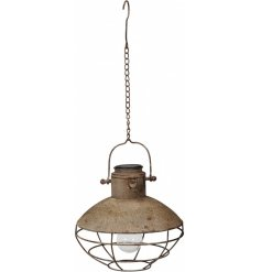 Hang this rustic metal light for a unique and attractive interior accessory.