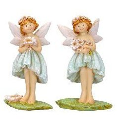 2 assorted fairies stood upon a leaf with a pretty bouquet of flowers.