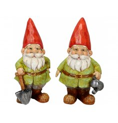 An assortment of 2 garden gnomes. Each is full of character and charm and has a garden tool.