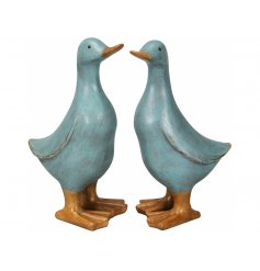 An assortment of 2 charming blue duck decorations with a shabby chic finish.