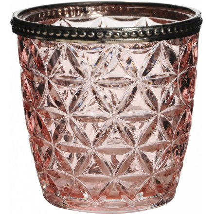 Diamond Ridge Pink Speck Candle Holder