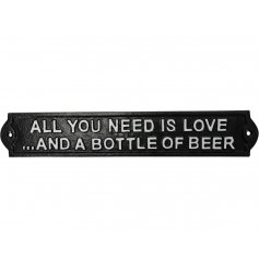 An attractive cast iron love and beer sign. A great gift item and interior and exterior sign.
