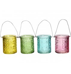 A mix of 4 colourful glass lanterns. Each has a wire handle to hang and a pretty floral design.