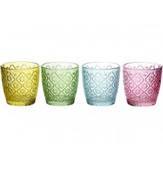A mix of 4 brightly coloured floral glass t-light holders.