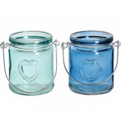 A mix of 2 blue glass t-light holders with a heart motif and wire handle.