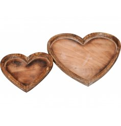 A set of 2 rustic wooden heart trays. Ideal for display and decoration. A shabby chic must have!