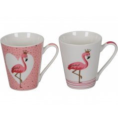 A mix of 2 pink mugs, each with a funky flamingo design with crowns. A fabulous gift item.