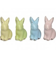 A mix of 4 pretty pastel coloured bunny decorations, each with a distressed finish.