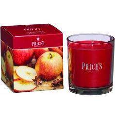 Bring a delightfully festive scent to your home space with this glass candle pot from the Prices Candles Range