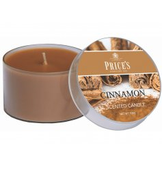 Enlighten your home with a calming scent of cinnamon with this sweetly scented candle tin