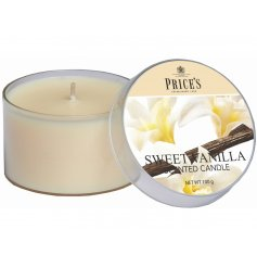 Enlighten your home with a calming scent of Sweet Vanilla with this delightfully scented candle tin