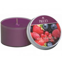 Enlighten your home with a fresh burst of summer with this delightfully Mixed Berry scented candle tin
