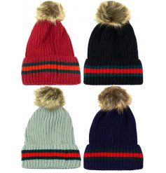 An assortment of 4 cable knit hats with a contrasting stripe detail and fluffy pom pom.