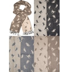 A mix of 3 cosy cat pashminas in popular fashion colours.