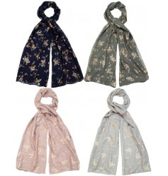 A mix of 4 pretty scarves, each with a floral gold foil design. A beautiful gift item and fashion accessory.