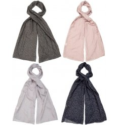 A mix of 4 pretty scarves in natural colours, each with a shimmering polka dot design.