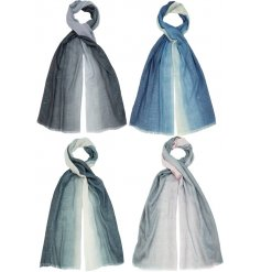 An assortment of 4 beautiful ombre scarves, each with a delicate silver thread running through the fabric.