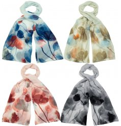A mix of 4 bold floral scarves with a touch of sparkle.