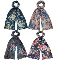 A mix of 4 stylish scarves each with a large floral print and a touch of glitter.