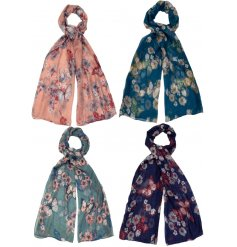 Cosy up with this mix of 4 bold and beautiful scarves, each with a floral and butterfly design.