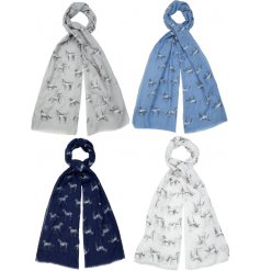 A mix of 4 charming scarves each with a horse print. A lovely fashion accessory and great gift item