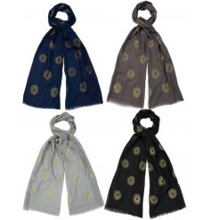 An assortment of 4 beautiful light weight scarves in rich blue and grey colours. Each has a gold foil firework pattern.